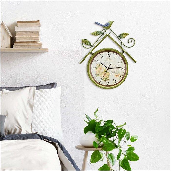 鐵製綠色屋型掛鐘 仿古鐵藝玫瑰花樹葉小鳥藝術造型時鐘 數字藝術壁鐘 北歐風鄉村風鐵鐘牆壁裝飾鐘【歐舍傢居】