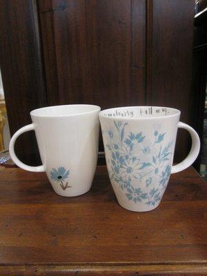 英國骨瓷淺藍色小花圖騰瓷器馬克杯 ~  (1個)優惠直購特