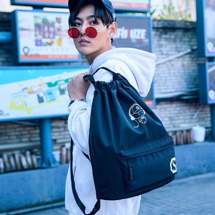 SX千貨鋪-抽繩袋旅行雙肩包女輕便防水迷你束口袋背包折疊雜物袋大收納包袋#男士背包#書包#單肩包#書包