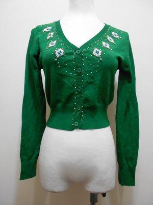 女 全新【Ardor】綠色 珠繡裝飾 針織小外套 M號