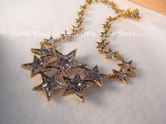Little Ting Store 埃及豔后款古銅金色底灰水鑽星星排鑽墜飾短項鍊串鏈珠鎖骨頸鍊