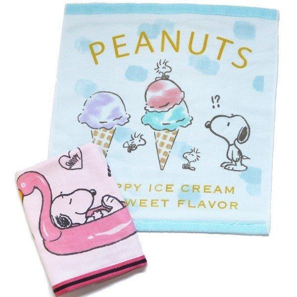 《散步生活雜貨》日本進口 PEANUTS - SNOOPY 史努比 夏天系列 方型 毛巾-兩色選擇