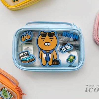 ♀高麗妹♀韓國 KAKAO FRIENDS POUCH 歡樂童年 透明PVC旅行收納包.小物收納包.化粧包(2款選)