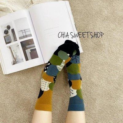☆Chia sweet shop☆現貨球狀森林物語日系不對稱棉質中筒襪