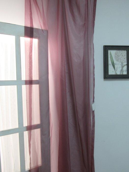 [W063]窗簾窗紗  No.8素透紗-紫紅  特價出清  無接縫紗