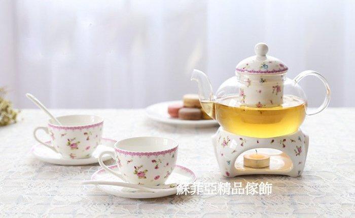 下午茶系列粉紅小玫瑰組一壺一溫座二杯二盤二匙【 蘇菲亞精品傢飾】