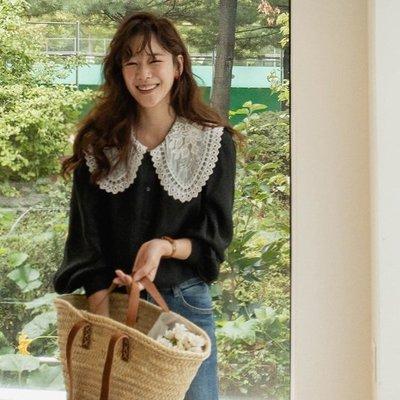 bibi 正韓  塞維利亞蕾絲領襯衫【 W3252  】