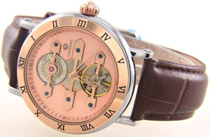 (六四三精品)超大錶徑4.2公分,.三金橋及時.分.秒大三針.自動上鍊機械錶