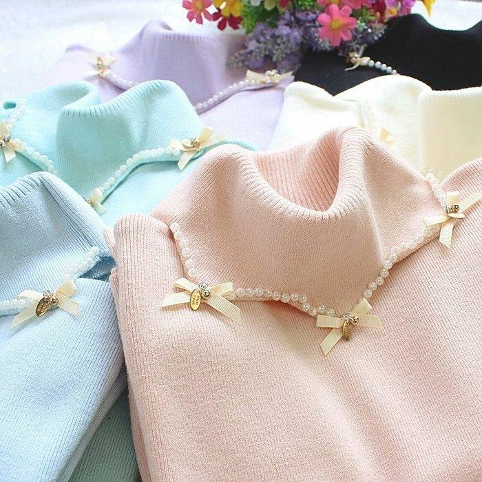 粉紅玫瑰精品屋~秋冬新款針織高彈力修身高領串珠套頭打底衫~