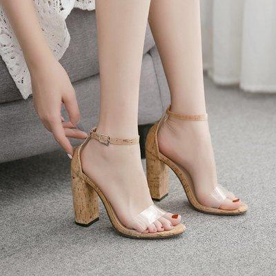 世界購 歐美 款一字帶粗跟木紋高跟鞋 涼鞋 厚底11CM綁帶夜店走秀高跟40