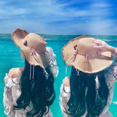 日和生活館 帽子女太陽帽日本出游沙灘防曬遮陽草帽海邊度假大檐防紫外線夏天S686