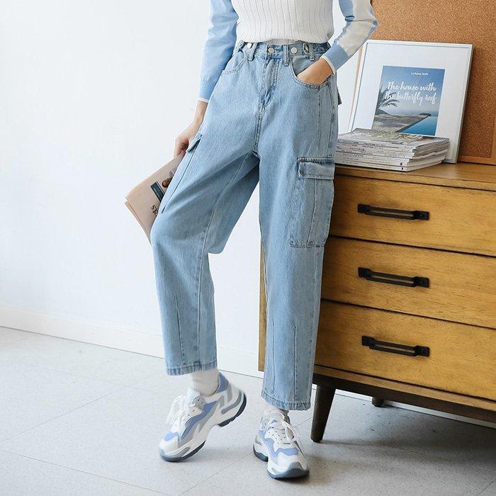 SEYES   日韓系女孩必備自然風基本款顯瘦工裝貼袋牛仔褲