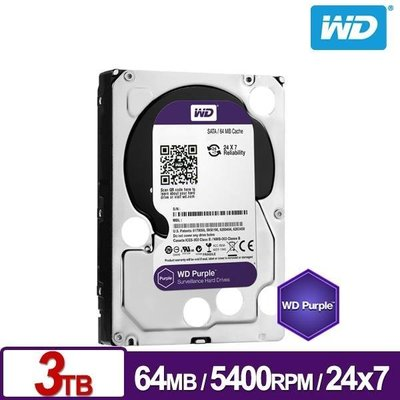【鴻霖-內接式硬碟】WD30PURZ 紫標 3TB 3.5吋監控系統硬碟