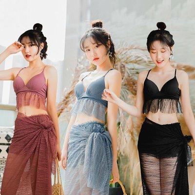 奇奇店-2019新款游泳衣女韓國ins風三件套 超仙小香風性感小胸聚攏比基尼