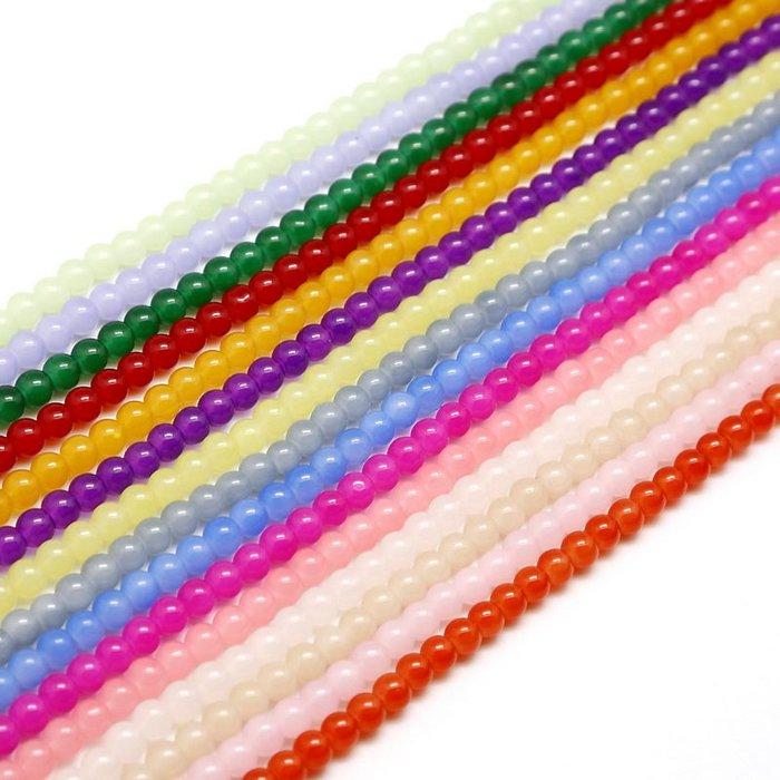 雜貨小鋪 diy耳環材料玻璃烤漆圓珠 4-6mm穿手鏈項鏈串珠散珠子配件約100顆!五件起購 !