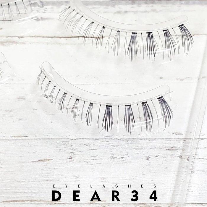 《Dear34》極細磨尖下睫毛no.10透明梗日系逼真極真眼尾加長眼尾局部加強 純手工編織假睫毛自然裸妝 一盒三對價