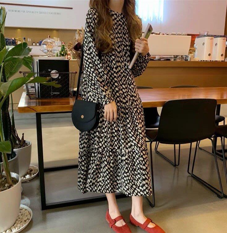 *Angel  Dance*長袖洋裝(黑色)@韓國 復古溫柔風 波點 圓點 娃娃裙 寬鬆腰 顯瘦 寬鬆@現貨+預購