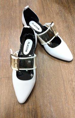 香港設計師品牌 placebo 俐落異材質拼接設計皮鞋 39號 古著