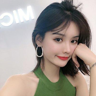 韓國Baby~夸張幾何超閃鋯石大耳環女氣質韓國顯臉瘦的耳墜網紅圈圈耳釘耳飾