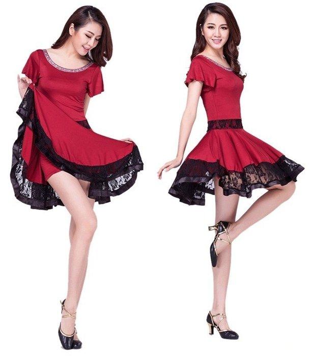 5Cgo 【鴿樓】含稅會員有優惠 44016609626 廣場舞服裝拉丁舞連衣裙女成人短袖表演舞蹈舞衣舞裙連身裙+安全褲