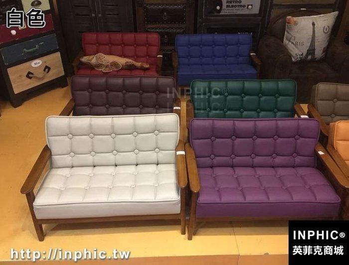 INPHIC-復古木質兒童雙人小沙發皮革凳子兒童房家俱收納凳幼兒攝影道具-白色_S2787C
