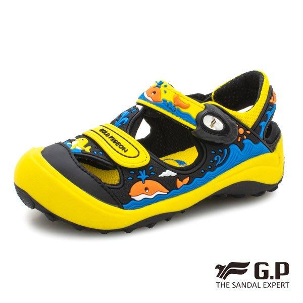 森林寶貝屋~超取免運~GP~阿亮代言~新款~鯨魚兒童護趾鞋~包頭涼鞋~小童鞋~磁扣設計~GP涼鞋~G9219B-33