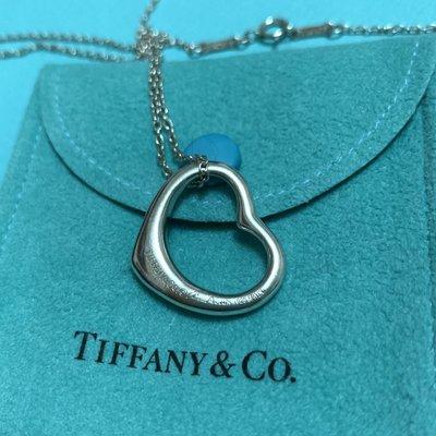 保證真品 蒂芬妮 Tiffany 純銀 M號 中號 愛心 Open heart 項鏈 項鍊 二手 經典款 九成新 正品