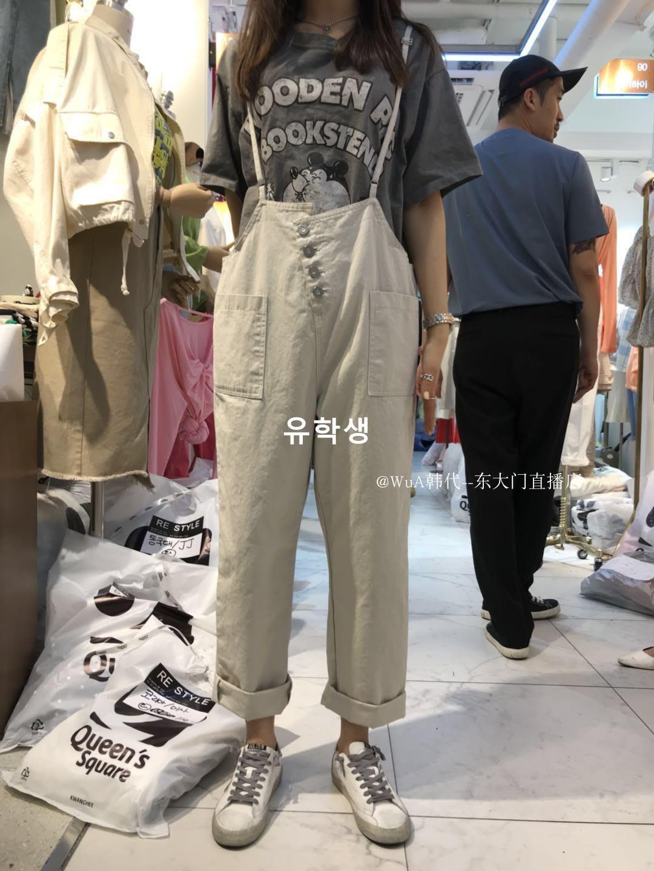 유학생 RE STYLE 2019春季新款 WUA韓國東大門代購 好看可愛吊帶背帶褲