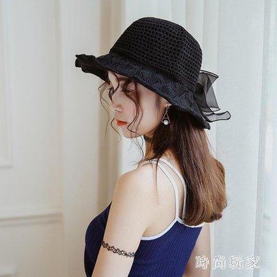 韓版綢緞大蝴蝶結棉麻遮陽帽子女夏沙灘大檐帽可折疊太陽帽 st3736
