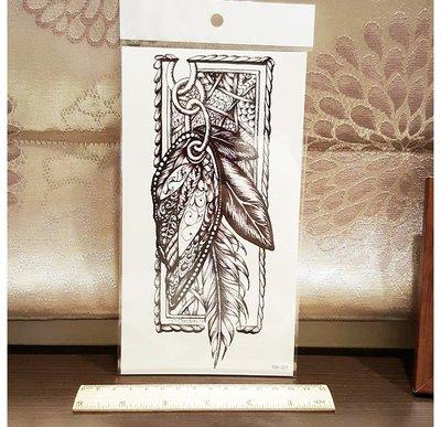 【萌古屋】復古羽毛手臂大圖 - 男女防水紋身貼紙刺青貼紙 K00