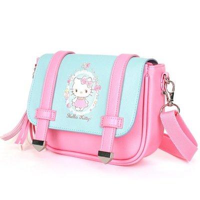 ♀高麗妹♀韓國 Hello Kitty 可愛粉色流蘇斜肩包 側背包(預購)