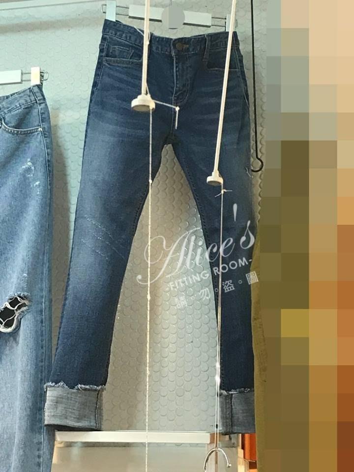 轉賣 全新 Alice Fitting Room 韓國薄款彈性反折9分牛仔褲 XL現貨