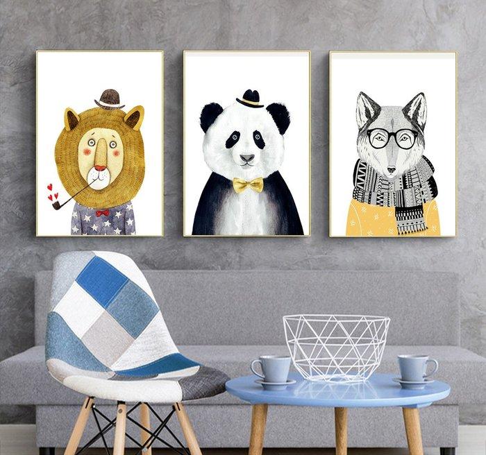 三幅一組油畫布 可愛動物狐狸熊貓 畫芯/畫布/30X40☺暖暖屋☺傢居藝術館