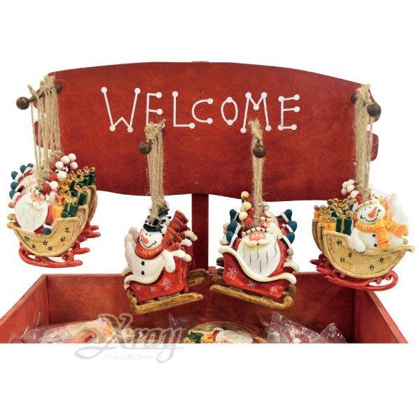 節慶王【X018013】陶製吊飾-公公雪人雪橇(4款-隨機出貨),聖誕節/掛飾/陶器/手作/吊飾/裝飾/擺飾/交換禮物