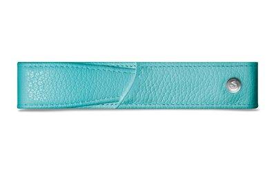 CARAN d'ACHE 瑞士卡達 藍綠色小牛皮單支筆套