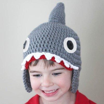 Baby's Go!!  鯊魚造型 兒童萬聖節/聖誕節/化裝舞會/創意毛帽/造型毛帽/編織毛帽/保暖毛線帽