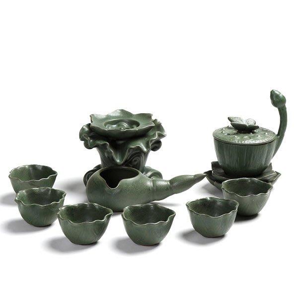 5Cgo【茗道】含稅會員有優惠   533205924723 出水芙蓉茶具套裝粗陶瓷半自動茶具套裝懶人創意功夫茶器禮盒裝