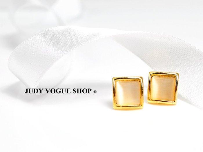 韓國 耳環 復古甜美氣質貓眼石耳環 方型耳針 復古氣質 JUDY VOGUE SHOP【JES-0009】