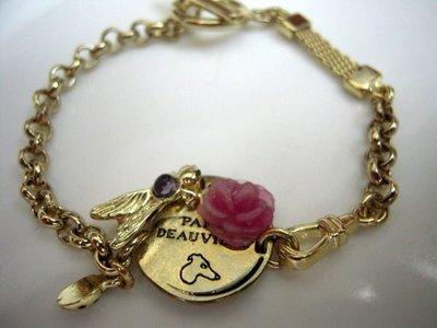 [巴黎妙樣兒] 法國廠製造 Les Nereides手繪珠寶 美好季節 紅色玫瑰 昆蟲寶石 手鍊