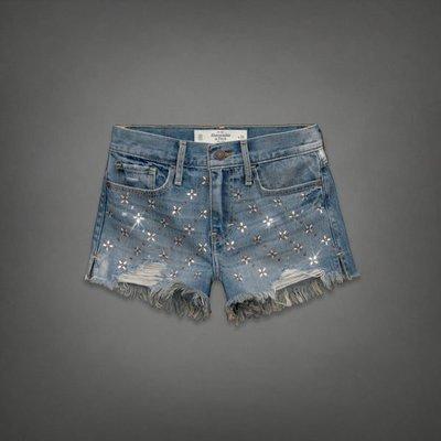 《Cupio》現貨 Abercrombie & Fitch HIGH RISE 俏麗修身珠珠鑲飾高腰牛仔短褲(0)