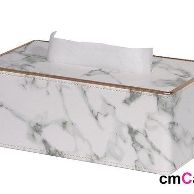 = cmCasa = [5609]現代美式視覺藝術設計  金邊大理石紋面紙盒 後現代新發行