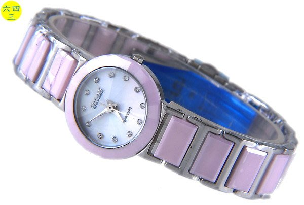 @(六四三精品)@歐美仕(真品)粉紅陶瓷藍寶石水晶切割玻璃不銹鋼頂級女錶!!