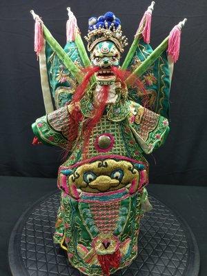 將軍(綠) 三塊合 臉部可動 二手傳統布袋戲偶 老件懷舊賞件 頭手足木製 不含支撐架