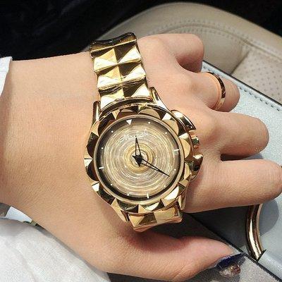 瑪莎莉新款 女士時來運轉腕表玫瑰金 雕花殼 金屬表帶時尚女手表za12