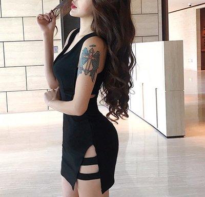 日韓性感女裝 短袖洋裝 女短褲 連體褲 短袖套裝 短袖上衣2018夏季新款V領名媛修身高腰顯瘦包臀鏤空開叉小黑裙氣質連衣裙