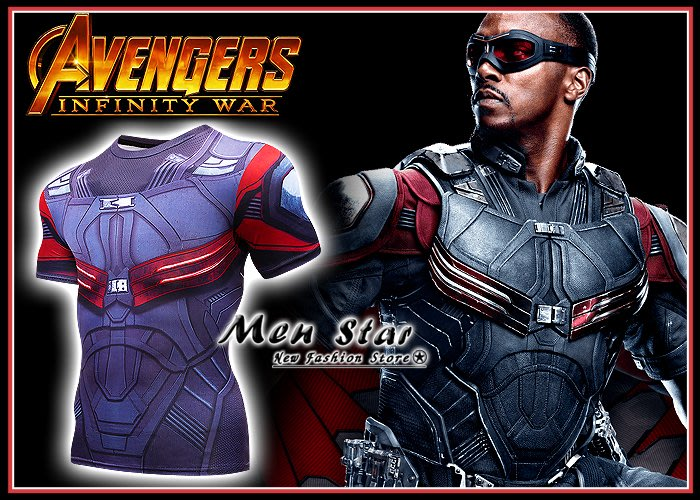 【Men Star】免運費 復仇者聯盟3 獵鷹 彈力運動衣  短T marvel T桖 媲美 superdry 極度乾燥