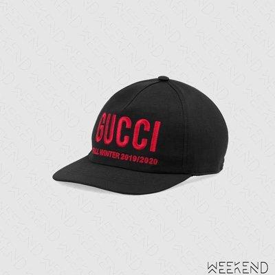 【WEEKEND】 GUCCI Logo 刺繡 休閒 棒球帽 鴨舌帽 帽子 黑色 596211