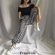 Freedom.~原宿風側條紋黑白格子長褲休閒松緊腰系帶情侶顯瘦闊腿褲子男女潮