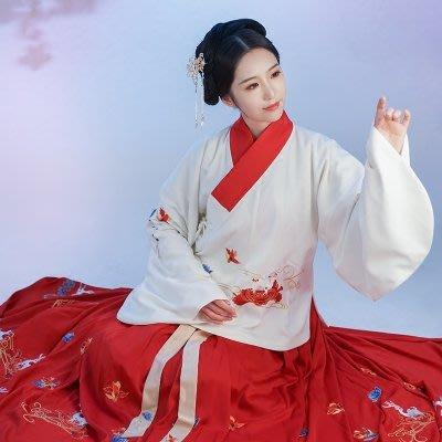 精工漢服女鹿與明制繡花襖裙傳統中國風日常裝襦裙春季款