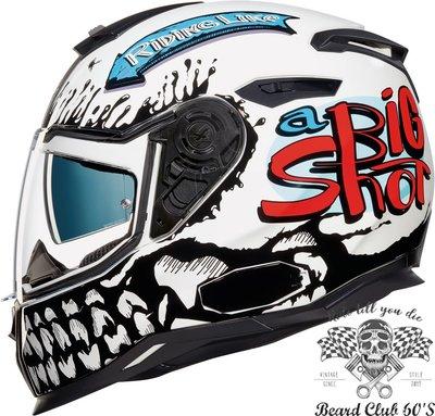 ♛大鬍子俱樂部♛ NEXX® SX100 Big Shot 歐洲 復古 CAFE 騎士 哈雷 全罩 安全帽 骷髏 W/B